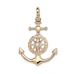 Diamond Anchor and Compass Rose Pendant