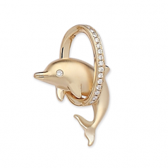 Diamond Dolphin in Hoop Pendant