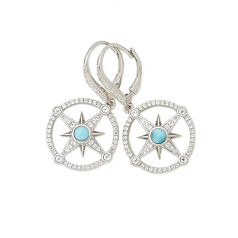 Sterling and Larimar Compass Rose Earrings