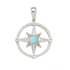 Sterling and Larimar Compass Rose Pendant