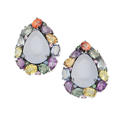 Estate Chalcedoney and Sapphire Earrings