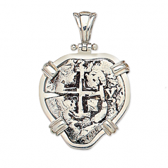 Spanish Silver Cob Coin Pendant- 2 Reales