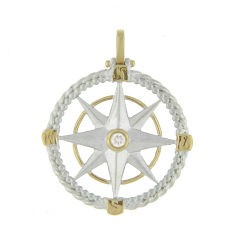 Sterling and 14Kt Compass Rose Pendant