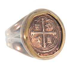 Spanish Silver Cob Coin Ring - 1 Reale