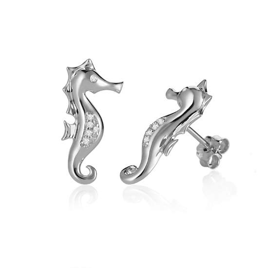 Diamond Seahorse Earrings