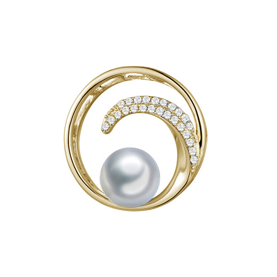 Diamond and Pearl Wave Pendant