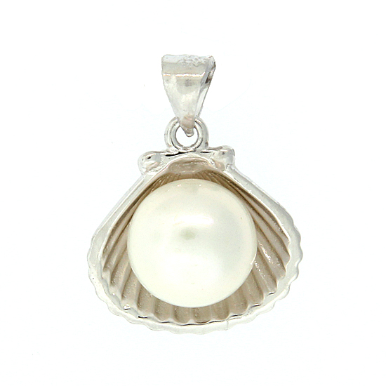 Scallop and Pearl Pendant