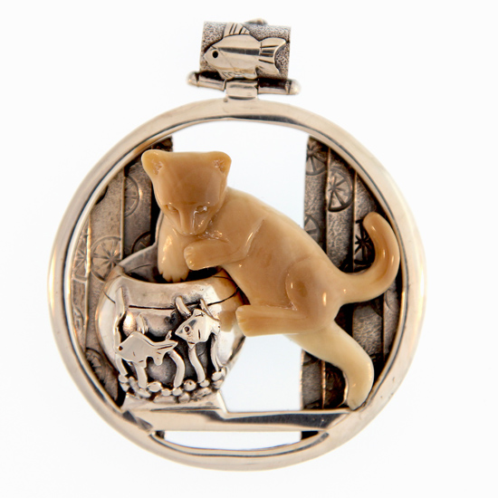 Cat and Fishbowl Pendant