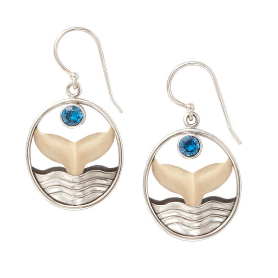Fossilized Ivory Whale Tail Earrings