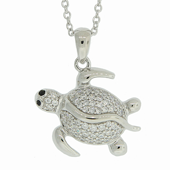 Simulated Diamond Turtle Necklace
