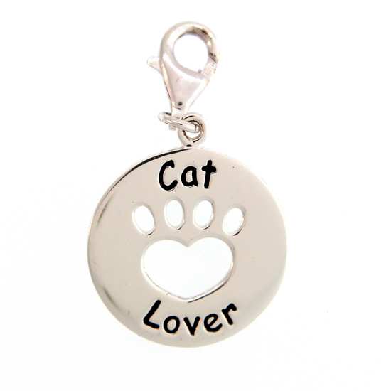Sterling Cat Lover Charm