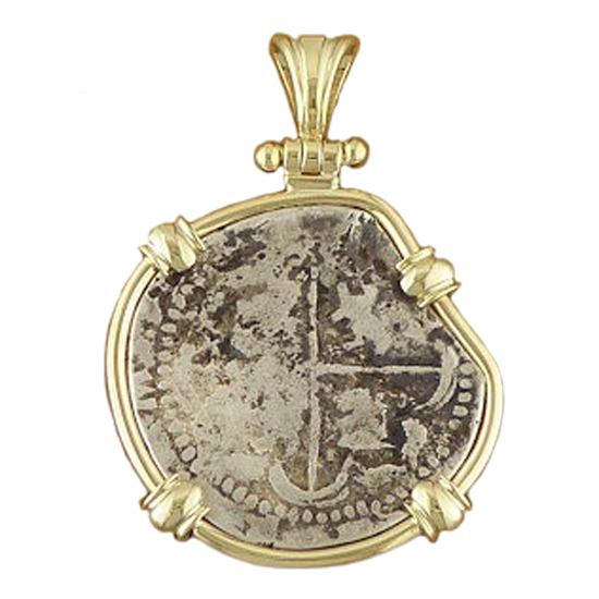 **SOLD** Spanish Silver Cob Coin Pendant- 2 Reales
