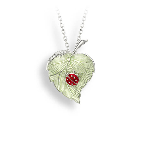 Sterling Ladybug Leaf Necklace