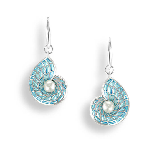 Sterling Blue Nautilus Earrings