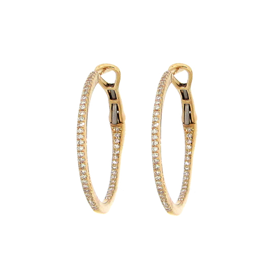 25MM Inside/Outside Diamond Hoop Earrings - Other Colors Available