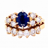 Estate Sapphire and Diamond Ring Set