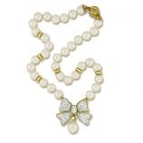 Estate Diamond Bow Pearl Necklace