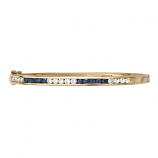 14Kt Gold Diamond and Sapphire Estate Bangle Bracelet