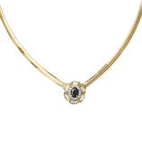 14Kt Gold Sapphire and Diamonds Estate Necklace
