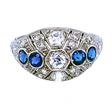 Estate Edwardian Diamond and Sapphire Ring