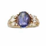 14Kt Gold Tanzanite and Diamond Ladies Estate Ring