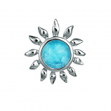 Sterling Larimar Sunflower Pendant