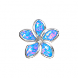 Sterling Opal Medium Plumeria Pendant