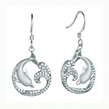 Sterling Dolphin and Wave Earrings