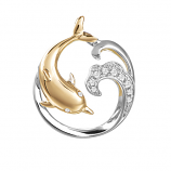 Diamond Dolphin Wave Pendant