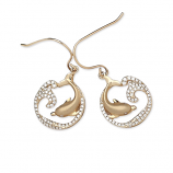 Diamond Dolphin and Wave Earrings