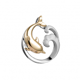 Sterling Dolphin Wave Pendant