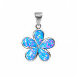 Sterling Opal Large Plumeria Pendant