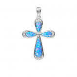 Sterling Opal Cross Pendant