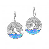 Sterling Opal Wave Earrings