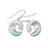 Sterling and Larimar Wave Earrings