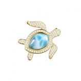 Diamond and Larimar Turtle Pendant