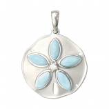Sterling and Larimar Sanddollar Pendant