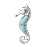 Sterling and Larimar Seahorse Pendant