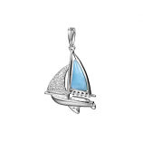 Sterling Larimar Sailboat Pendant