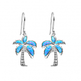 Sterling Opal Palm Tree Earrings