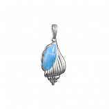 Sterling Larimar  Conch Shell Pendant