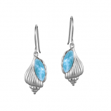Sterling Larimar Conch Shell Earrings