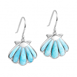 Sterling and Larimar Scallop Shell Earrings