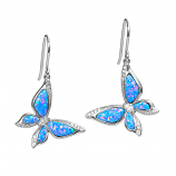 Sterling Opal Butterfly Earrings