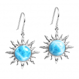 Sterling Larimar Sun Earrings