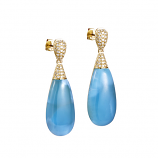 Diamond Larimar Drop Earrings