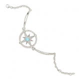 Sterling and Larimar Compass Rose Bracelet