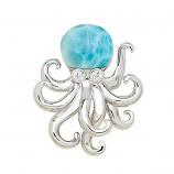 Sterling and Larimar Octopus Pendant