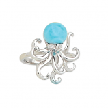 Sterling and Larimar Octopus Ring