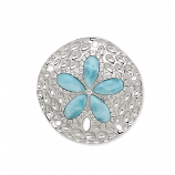 Sterling and Larimar Sand Dollar Pendant